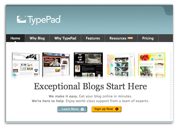 Featured on Typepad's Home page!