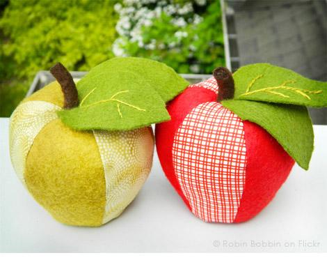 Сшить яблоки из ткани 13