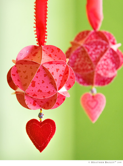 Valentine Paper Globes by Heather Bailey